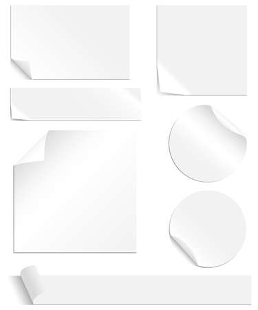 peeling corner: White Labels Set - Collection of blank labels with peeling and creased corners. Each element is grouped individually for easy editing. Colors are global swatches, so they can be changed easily.