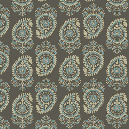 Paisley Pattern - Vector background pattern.  Colors are global swatches for easy editing. Banco de Imagens - 33510033