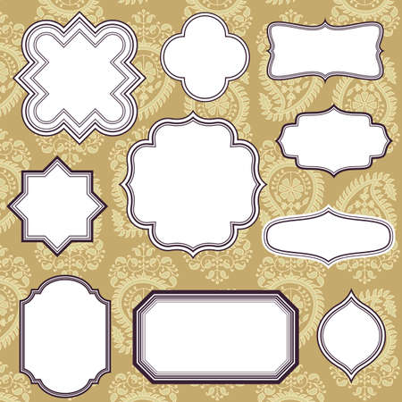 Frames on Paisley Background - Set of Vintage frame and label shapes on background.  Colors are global for easy editing.