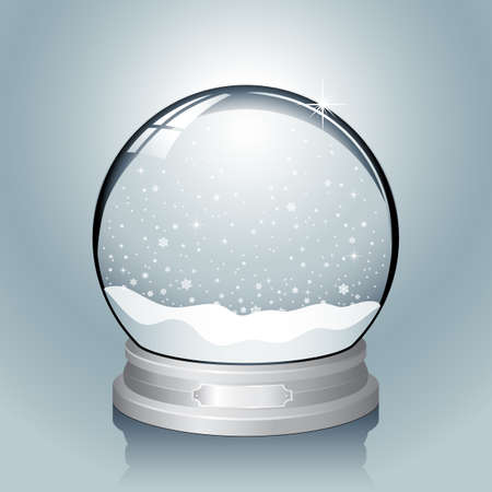 Silver Snow Globe - Realistic vector snow globe with falling snowflakes.  File has named layers for easy editing.  Colors are global swatches, so they can be modified easily. Vector