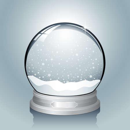 wereldbol: Silver Snow Globe - Realistische vector sneeuwbol met vallende sneeuwvlokken. Bestand heeft lagen voor eenvoudige bewerking genoemd. Kleuren zijn globale stalen, zodat ze gemakkelijk kunnen worden aangepast.