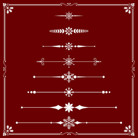 rule line: Christmas Rule Lines - Snowflake Rule Line ornaments.  Each element is grouped separately and colors are global for easy editing.