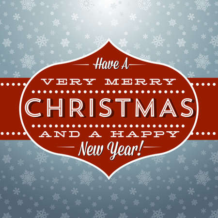 greeting: Retro Christmas and New Year Greeting - Vintage Christmas greeting design with a snowflake background. Illustration
