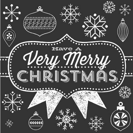 Chalkboard Christmas Greeting - Chalkboard vintage poster design.  Colors are global, and each object is grouped separately for easy editing.