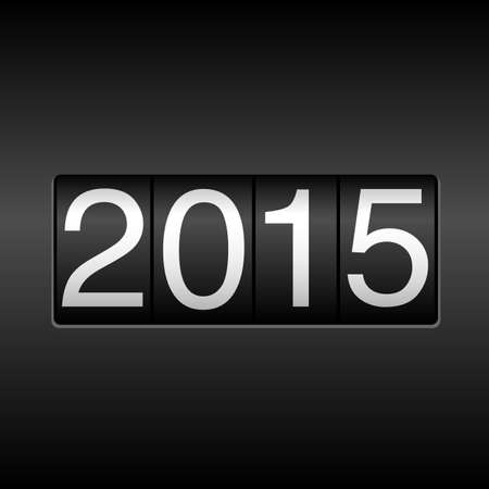odometer: 2015 New Year Odometer - with white numbers on black background.  EPS8 file. Illustration