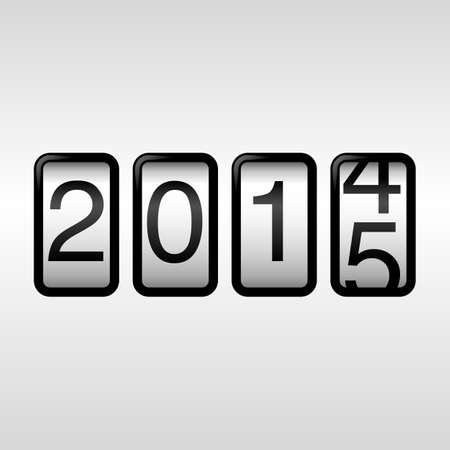 odometer: 2015 New Year Odometer - with black numbers rolling from 2014 to 2015, on white background.  EPS8 file. Illustration