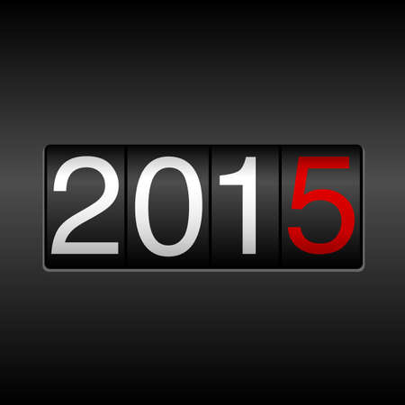 odometer: 2015 New Year Odometer - with white and red numbers on black background.  EPS8 file.