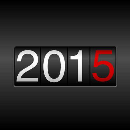 2015 New Year Odometer - met witte en rode cijfers op een zwarte achtergrond. EPS8 bestand. Stock Illustratie
