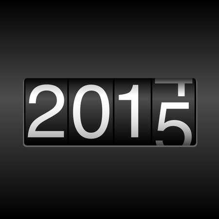2015 New Year Odometer - met witte cijfers rollen 2014-2015, op een zwarte achtergrond. EPS8 bestand. Stock Illustratie