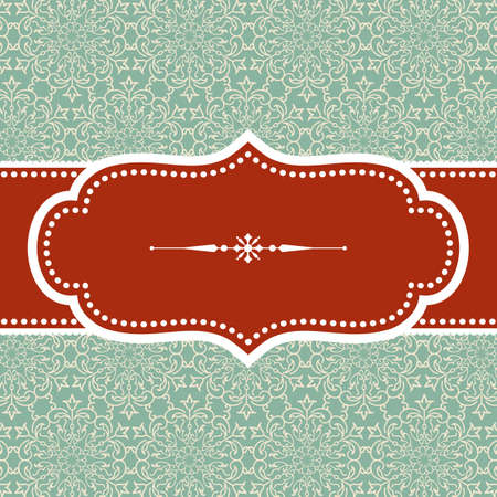 Christmas Background - Vintage frame design with snowflake text divider on damask background.  Damask background swatch is included in swatches panel.  Colors are global for easy editing. Banco de Imagens - 34258349