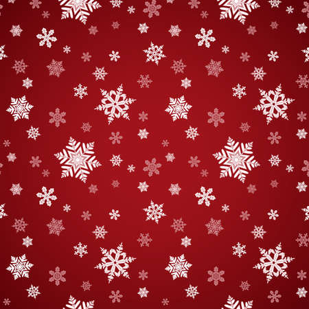 themed: Red Snowflake Seamless Pattern ? Holiday themed snowflake pattern.  Pattern is behind clipping mask, with a gradient background behind it.  Two versions of the pattern swatch are already in the swatches panel.