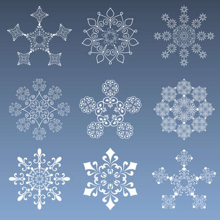 Snowflakes Set - Collection of 9 snowflake designs.  Each snowflake is grouped individually for easy editing.  Colors are global for easy editing.
