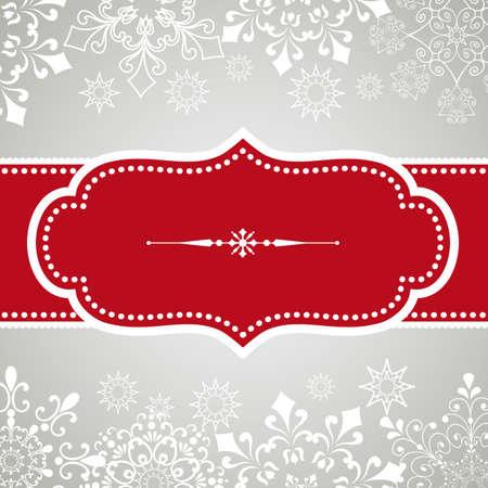 スノーフレークの背景 - スノーフレーク背景にビンテージ フレーム デザイン。 雪は、クリッピング マスクの背後にあります。 色は、簡単に編集で