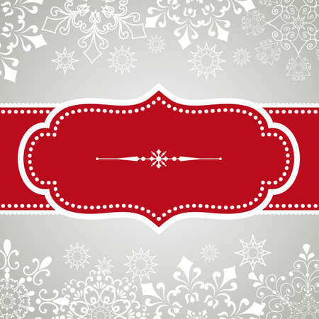 baroque border: Snowflake Background - Vintage frame design on snowflake background.  Snowflakes are behind a clipping mask.  Colors are global for easy editing.