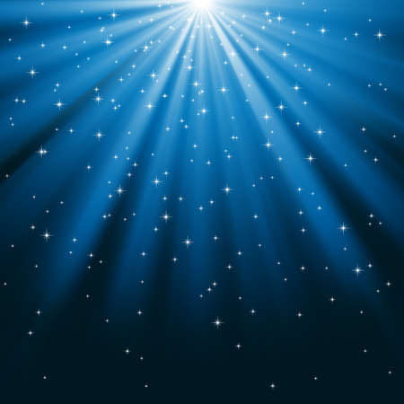 light rays: Blue Rays of Light and Stars - Rays of light on a blue background covered with bright stars. File is layered for easy editing.