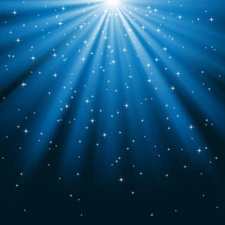 Rayos de luz azul y estrellas - Rayos de luz sobre un fondo azul cubierto de estrellas brillantes. Archivo es en capas para facilitar la edición. Foto de archivo - 34486318