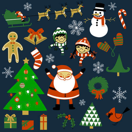 Christmas Elements Set - A collection of over 20 hand-drawn Christmas elements.  Each element is grouped individually for easy editing.