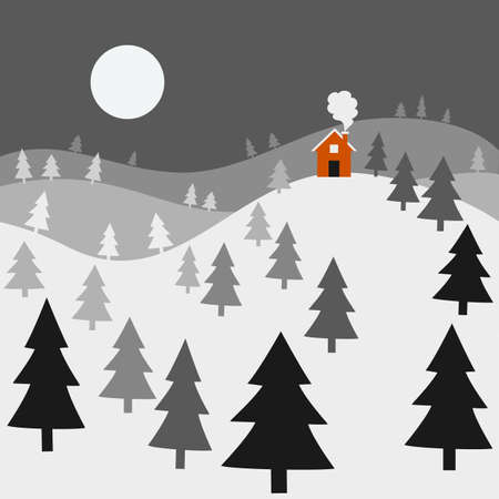 red barn: Winter Night Landscape - Landscape of a winter night, with a cozy red house on top of snow-covered hills.  All elements are individually grouped for easy editing.  Colors can be changed easily.