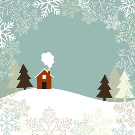 Winter Landscape - Winter landscape with trees and a cozy cottage on the horizon, framed with snowflakes.