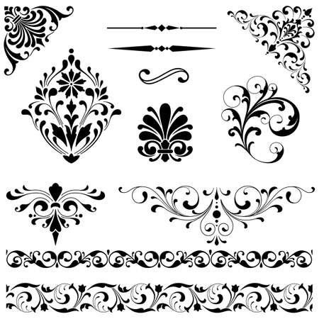 vintage scroll: Ornament Set - Set of black vector ornaments including scrolls, repeating borders, rule lines and corner elements.