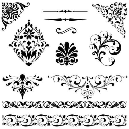 barroco: Ornamento Set - Conjunto de adornos de vector negro incluyendo volutas, las fronteras que repiten, líneas de reglas y elementos de esquina. Vectores