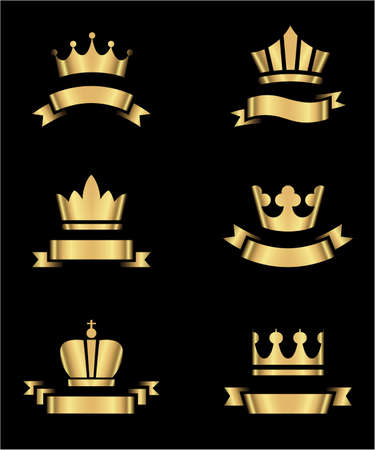 individually: Gold Crowns and Banners - Set of gold crowns and banners.  Colors in gradients are global, so they can be changed easily.  Each element is grouped individually for easy editing.