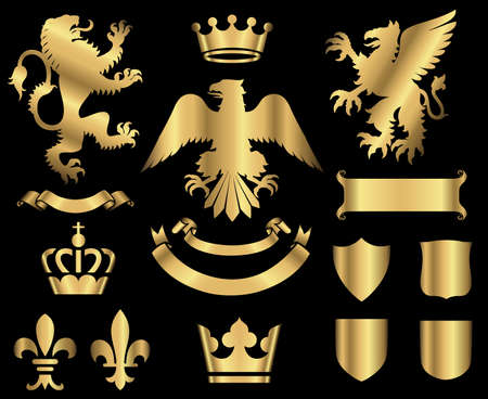 rampant: Gold Heraldry Ornaments - Gold heraldry ornaments isolated on a black background.  All elements are grouped separately for easy editing.