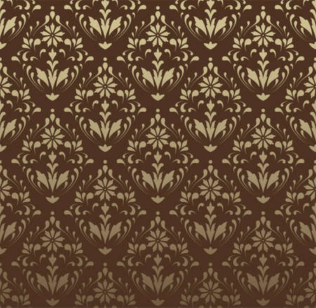 Brown Damask Pattern - Vector Seamless Pattern.  Colors are easily edited.