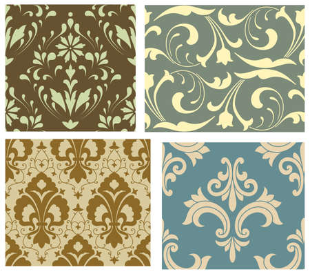 blue damask: Seamless Pattern Set - Vector Seamless Pattern Tiles.  Colors are easily edited. Illustration