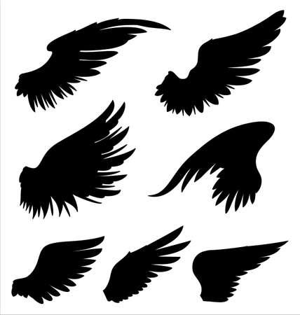 tatouage ange: Wings - ailes vecteur dessin�es � la main. Les couleurs peuvent �tre facilement chang�s.