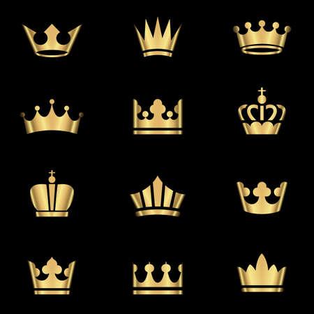 corona rey: Coronas de oro Set - Juego de coronas de oro iconos. Colores en gradientes son globales, por lo que se pueden cambiar fácilmente. Cada elemento se agrupa de forma individual para facilitar la edición. Vectores