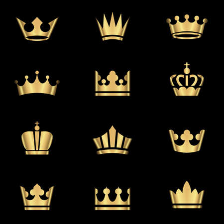 tiara: Gold Crowns Set - Set of gold crowns icons.  Colors in gradients are global, so they can be changed easily.  Each element is grouped individually for easy editing. Illustration