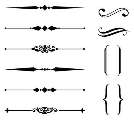 marcos decorativos: Regla de l�nea y el conjunto de adorno - Conjunto de l�nea de la regla y elementos de dise�o ornamental. Cada elemento se agrupa por separado para facilitar la edici�n. Vectores