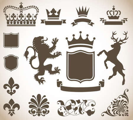rampant: Heraldry Ornaments - Vector Heraldry Ornaments Isolated on a Gradient Background.