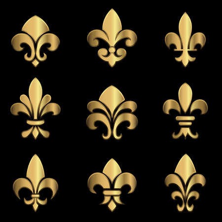 Gold Fleur De Lis - Set of gold Fleur De Lis elements.  Colors in gradients are global, so they can be changed easily.  Each element is grouped individually for easy editing. Illustration