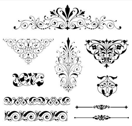 Ornamento Set - Conjunto de adornos negros vector - rollos, bordes de repetición, líneas de reglas y elementos de esquina.