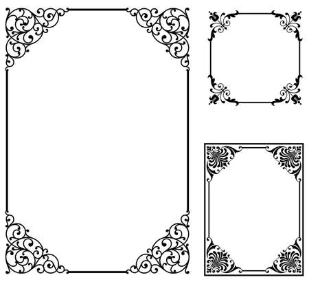Scroll Frames - Set of vector frames isolated on white background. Çizim