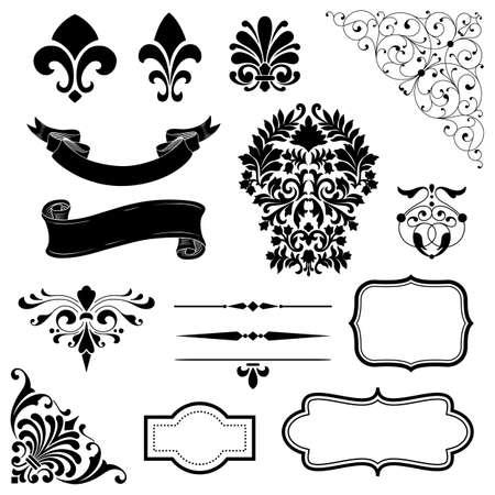 barroco: Ornamento Set - Conjunto de adornos negros vector - rollos, banderas, cuadros, líneas de reglas y elementos de esquina.