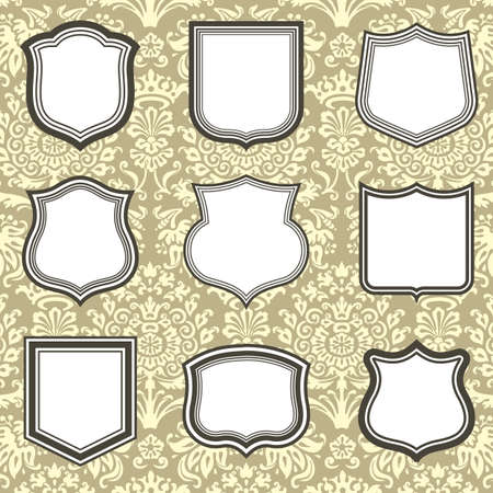 separator: Shield Frames on Damask Background - Set of shield frames on seamless damask background.  Damask background is behind a clipping mask.  Colors are global, and file is layered for easy editing.