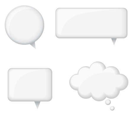 Glossy White Word Bubbles - Set of 4 glossy white word bubbles.  Created with blends and simple gradients.  Each word bubble is on its own separate layer for easy editing.