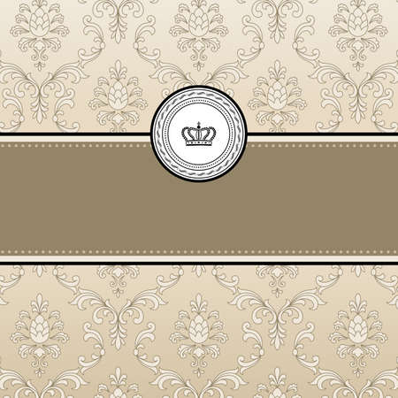 Frame Background - Vintage style frame on seamless damask background.  Damask background is behind a clipping mask, and may be released to modify dimensions of the composition.