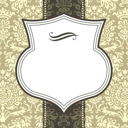 separator: Shield Frame on Damask Background - Shield frame on seamless damask background.  Damask background is behind a clipping mask.  Colors are global, and file is layered for easy editing.