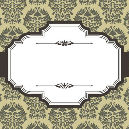 Vintage Frame on Damask Background - Vintage frame on seamless damask background.  Damask background is behind a clipping mask.  Colors are global for easy editing. Çizim