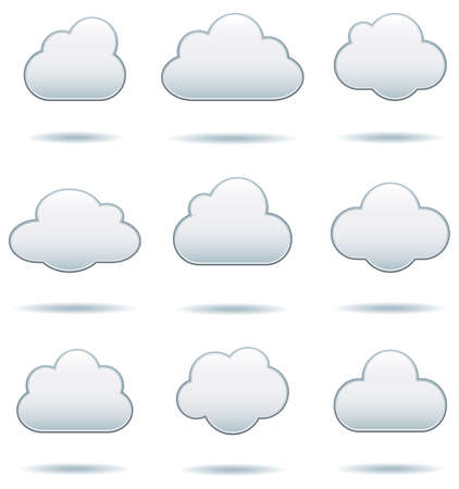 on cloud nine: Cloud Icons - Set of nine cloud icons with drop shadows.  Colors are global swatches, so they can be modified easily.