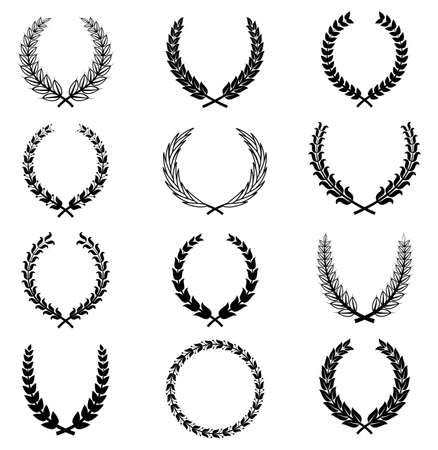 wreath of wheat: Vector Wreaths - A set of 12 wreath ornaments.  Objects are grouped individually for easy editing.