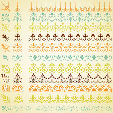 scroll border: Repeating Borders Set - Set of repeating borders.  Main border elements and corner elements are both included for each border pattern.  Colors are global, so they can be modified easily. Illustration