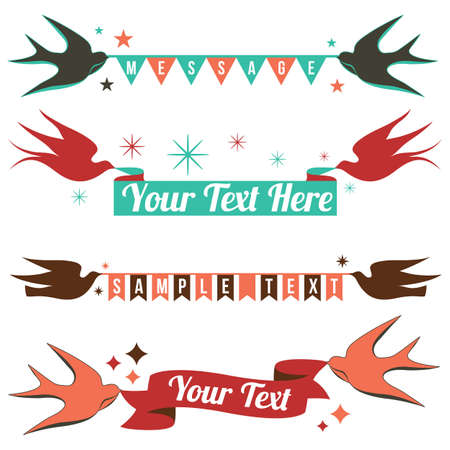 Retro Birds and Banners  - Retro copy space designs.  File is layered and uses global colors. 向量圖像