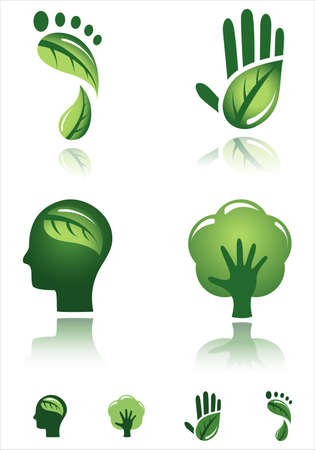 green footprint: Green Design Icons - Vector designs of environmental concepts.  Each icon is grouped individually for easy editing.  Colors are global for easy editing. Illustration