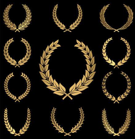 골드 화환 - 검은 background.easily에 10 금 화환 장식의 집합입니다. 개체는 개별적으로 그룹화하고 파일을 쉽게 편집 할 계층화된다. 일러스트