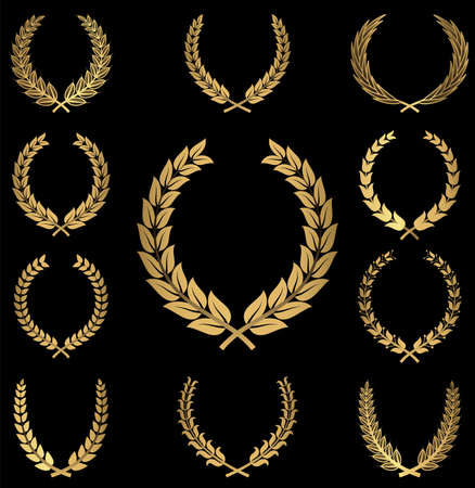 Gold Wreaths - A set of 10 gold wreath ornaments on a black background.easily.  Objects are grouped individually and file is layered for easy editing. Ilustração